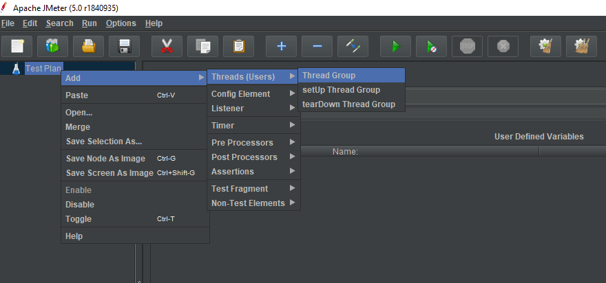 Create Thread Group Option