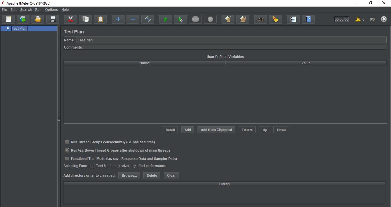 JMeter initial screen