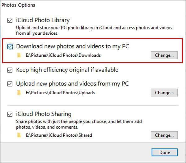 iCloud photo sync options