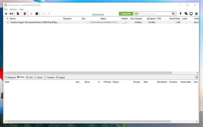 uTorrent Default View