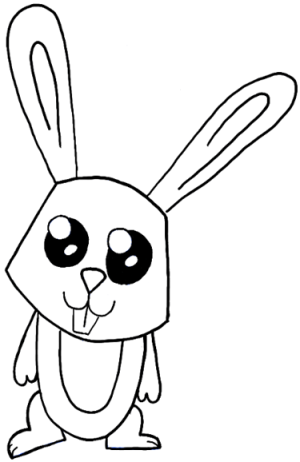 bunny drawing cartoon rabbit easy draw drawings step paintingvalley
