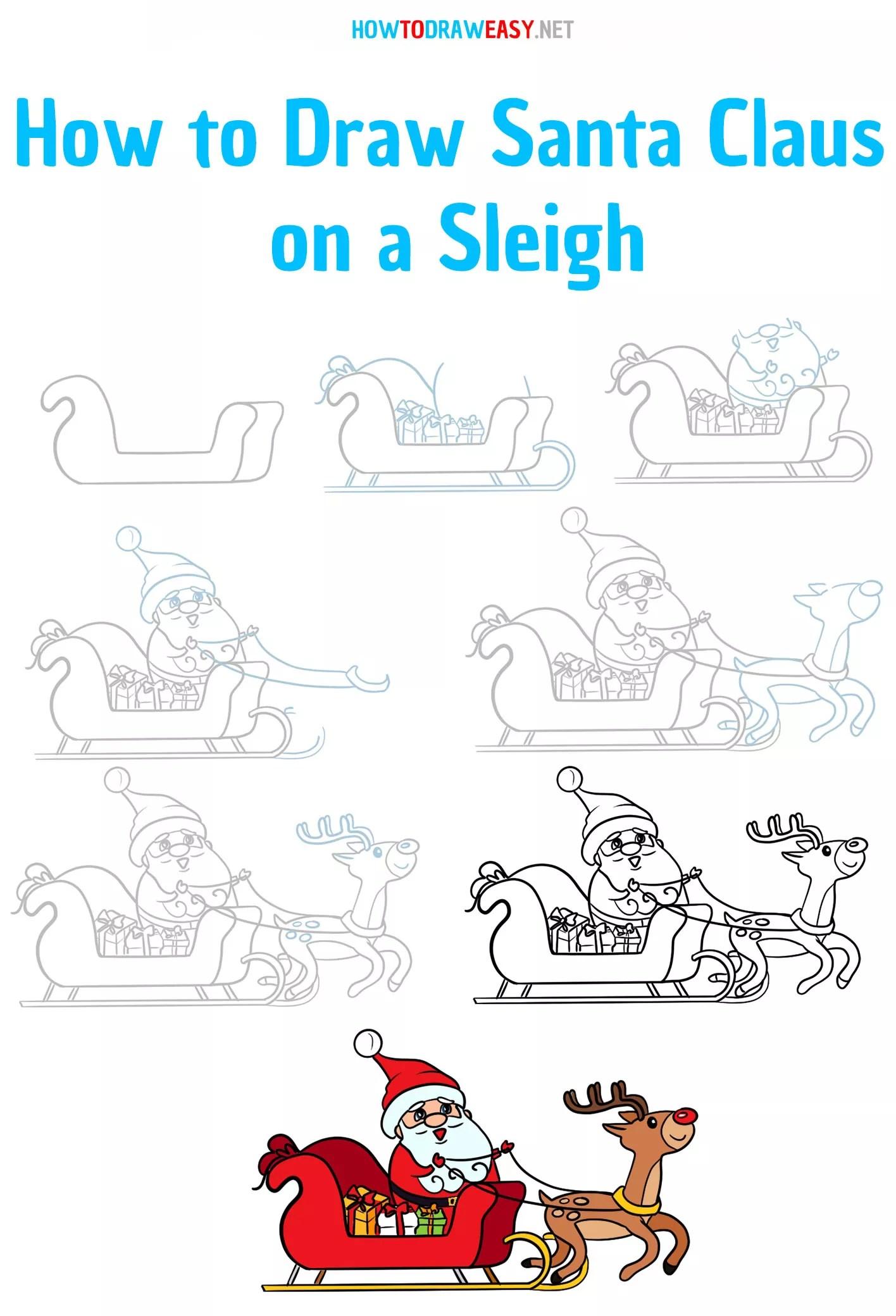 Santa Sleigh Drawings : santa, sleigh, drawings, Santa, Claus, Sleigh