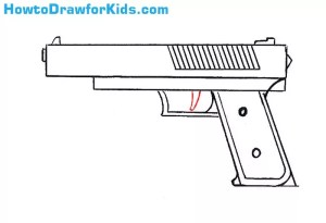 gun draw drawing simple step sketch another lines lesson bad scene erase clean additional making trigger which