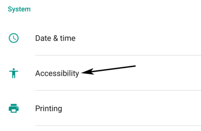 System Accessibility Option