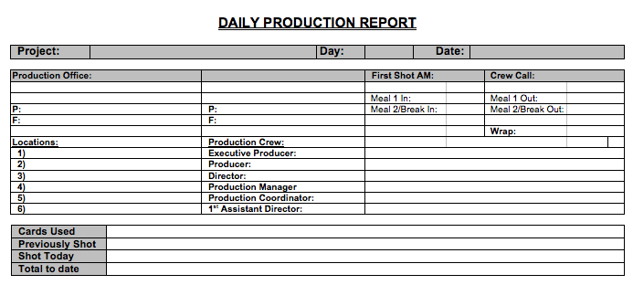 Free Daily Production Report Howtofilmschool Com