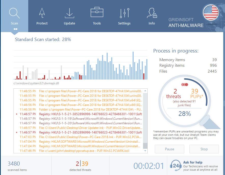 GridinSoft Anti-Malware Scanning