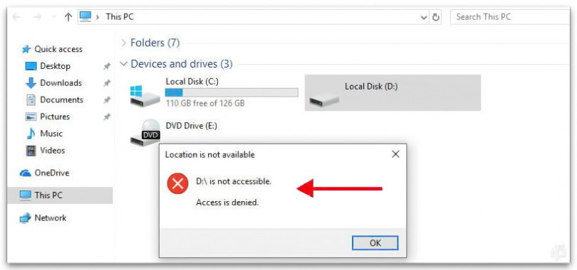 disk drive D is not accessible
