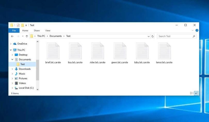 Carote Virus - crypted .carote files