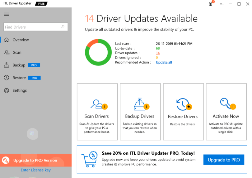 ITL Driver Updater - Main View