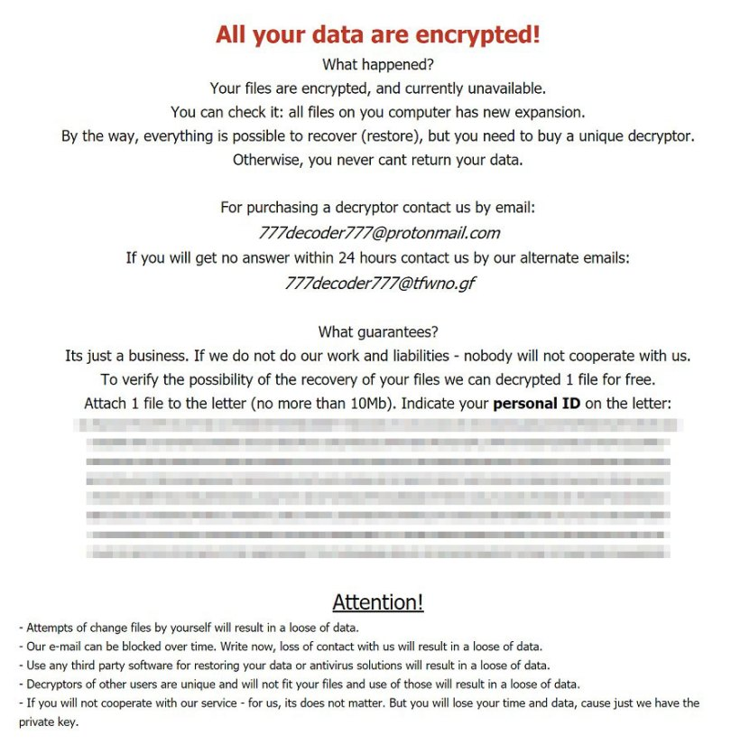All your data are encrypted!