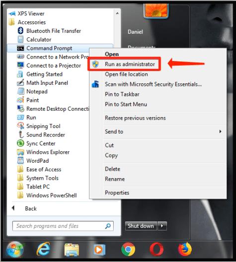 Windows 7 menu