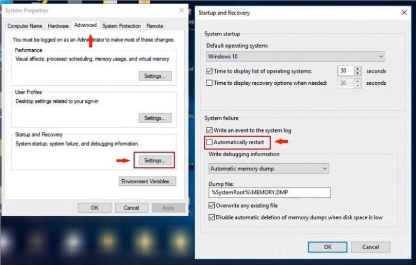 Your PC ran into a problem and needs to restart fix- Startup & Recovery Settings