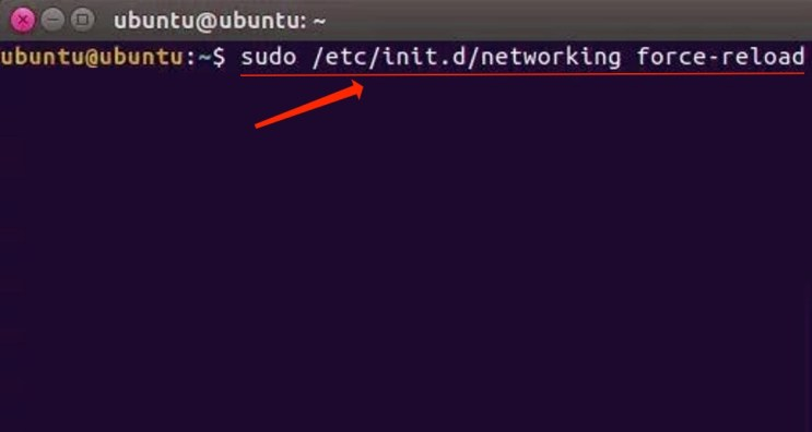 sudo /etc/init.d/networking force-reload