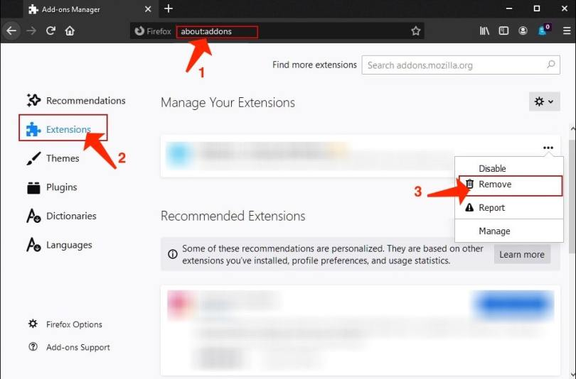 Delete unwanted add-ons from Firefox