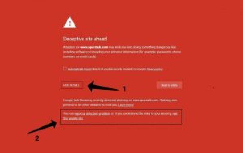 Deceptive Site Ahead warnen
