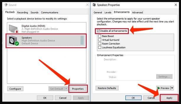 sound problems - Disabling audio enhancements