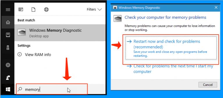 Refer to the Windows Memory Diagnostic tool