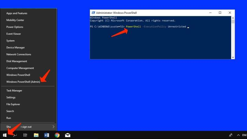 Apply the Powershell commands