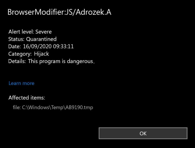 BrowserModifier:JS/Adrozek.A found