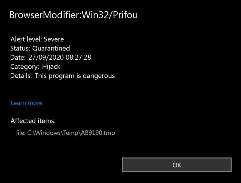 BrowserModifier:Win32/Prifou found