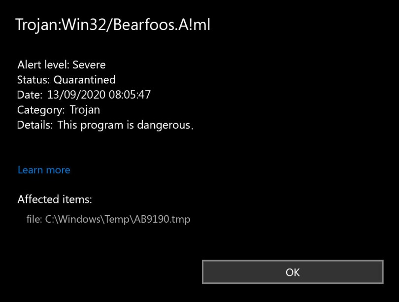 Trojan:Win32/Bearfoos.A!ml found