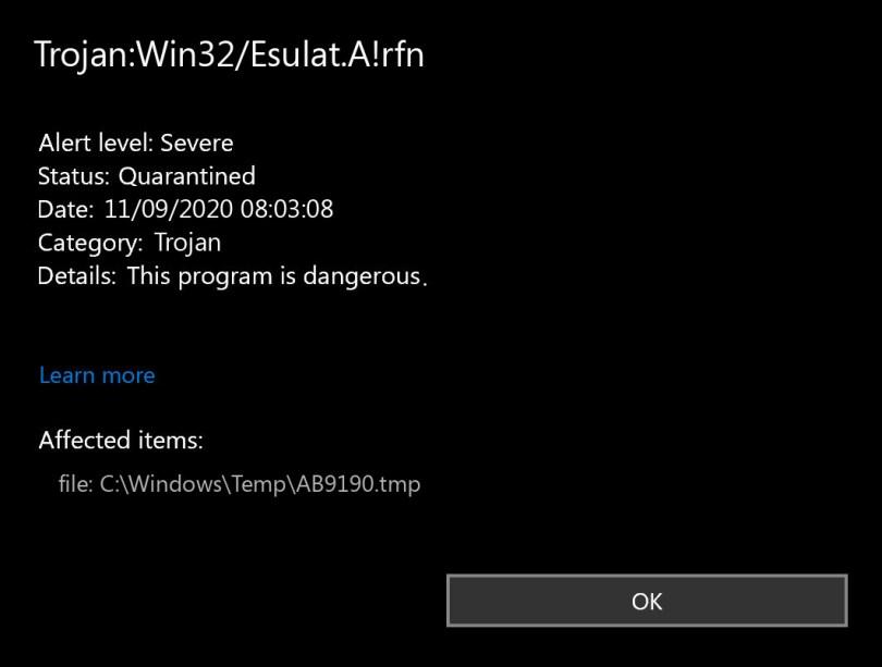 Trojan:Win32/Esulat.A!rfn found