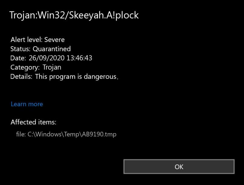 Trojan:Win32/Skeeyah.A!plock found