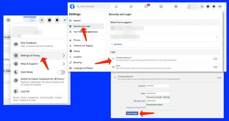 hacked facebook account change password