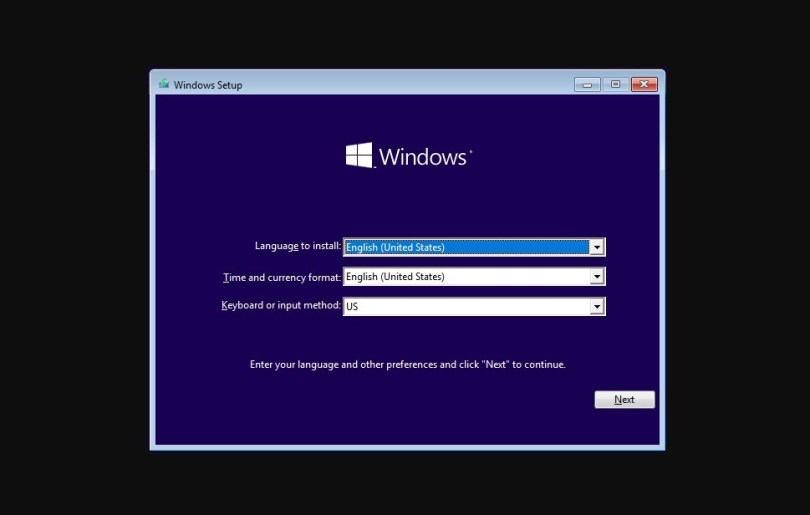 reinstall windows - start screen