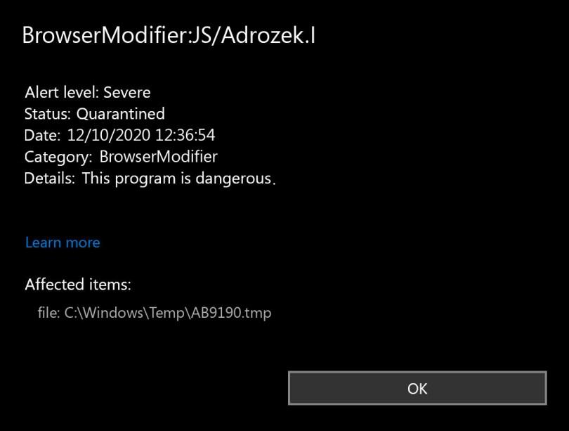 BrowserModifier:JS/Adrozek.I found