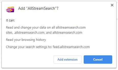 AllStreamSearch installation pop-up