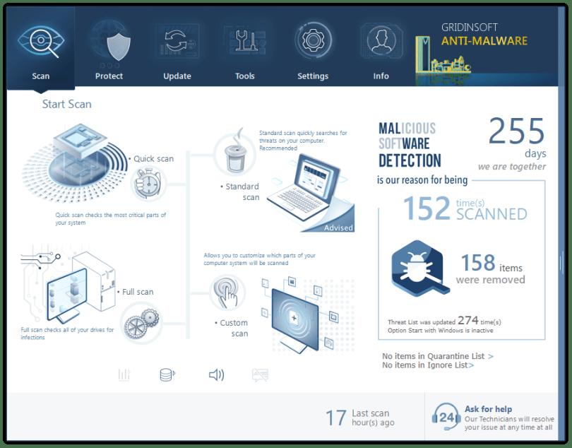 Main screen in GridinSoft Anti-Malware