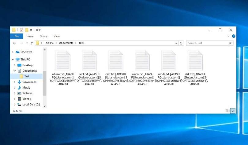 Arasuf Virus - encrypted .[ARASUF@tutanota.com][*].ARASUF files