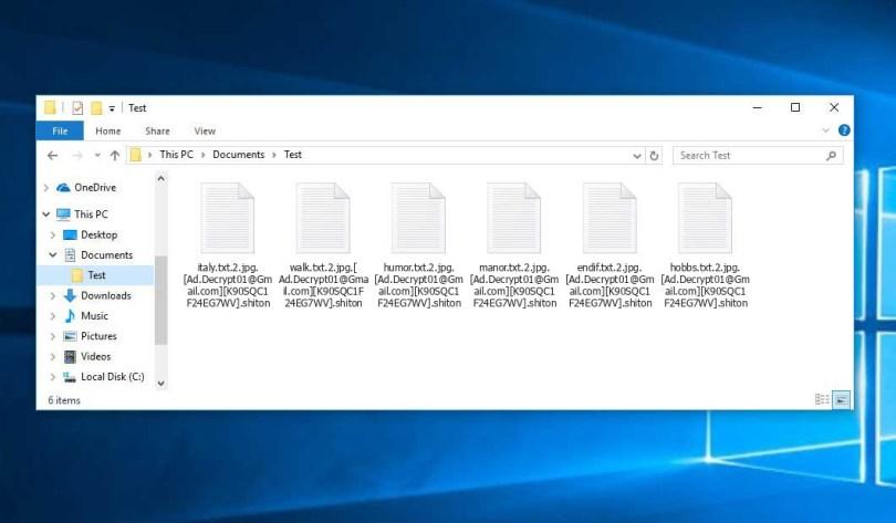 Shiton Virus - encrypted .shiton files