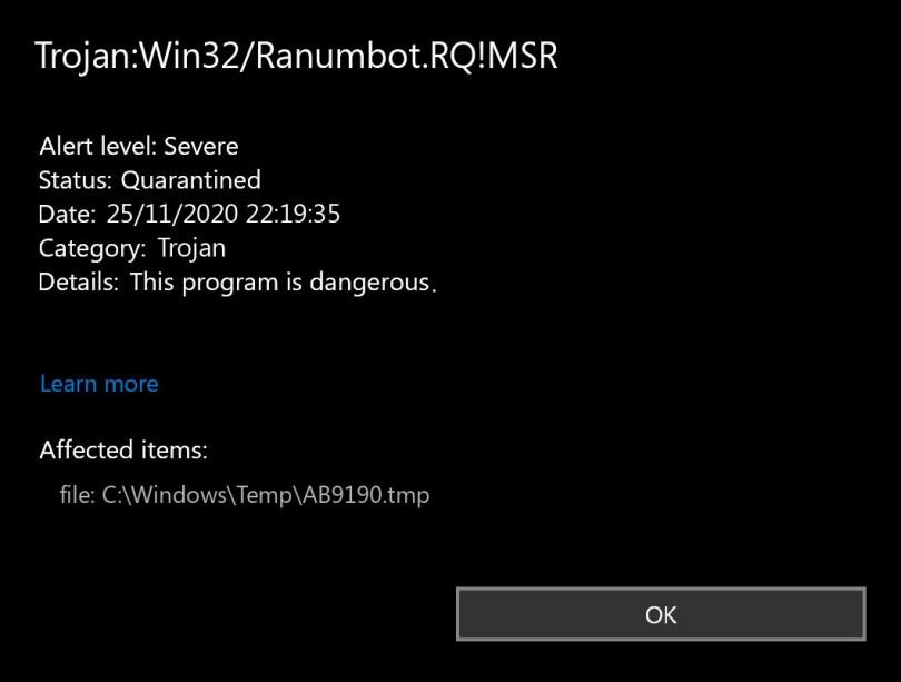 Trojan:Win32/Ranumbot.RQ!MSR found