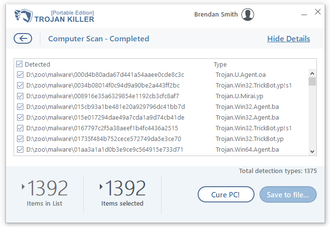Post-scan window in Trojan Killer