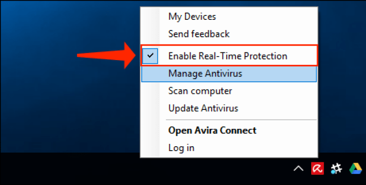 Temporarily Disable Avira Antivirus Enable Real-Time Protection