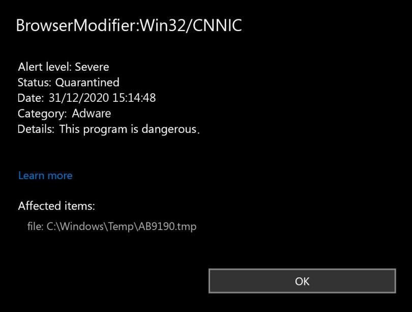 BrowserModifier:Win32/CNNIC found
