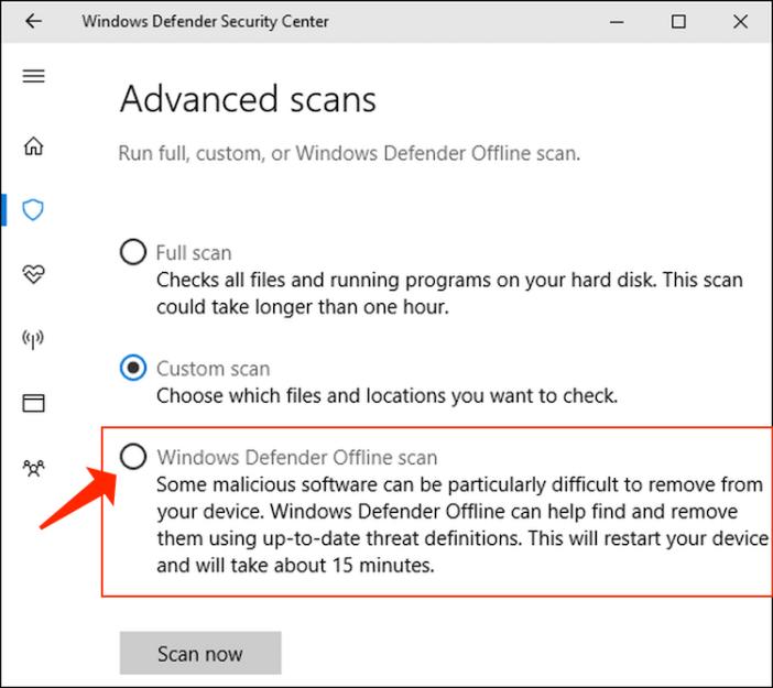 Microsoft Defender Offline scan
