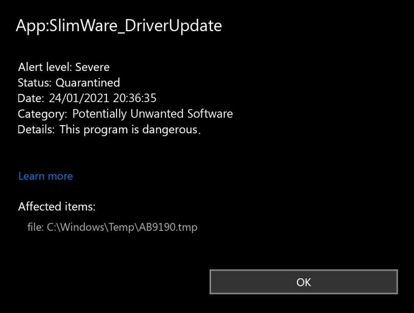 App:SlimWare_DriverUpdate found
