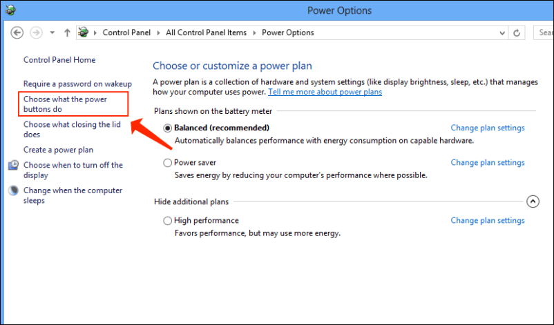 Power options - choose what power buttons do