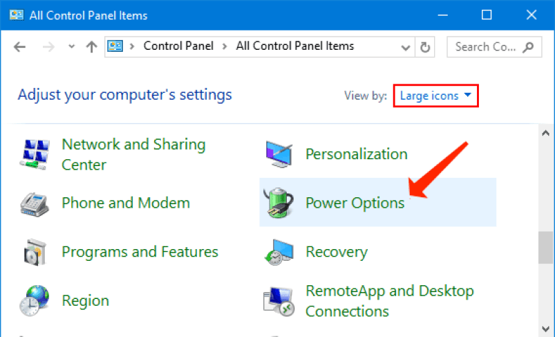 Control Panel - Power options