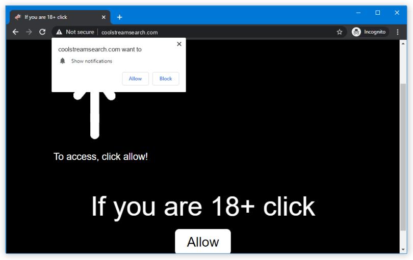 Coolstreamsearch.com push notification