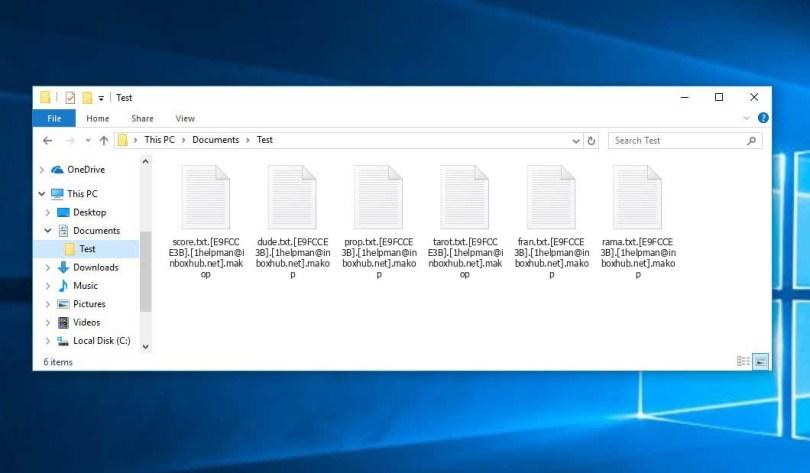 Makop Virus - encrypted .[1helpman@inboxhub.net].makop files