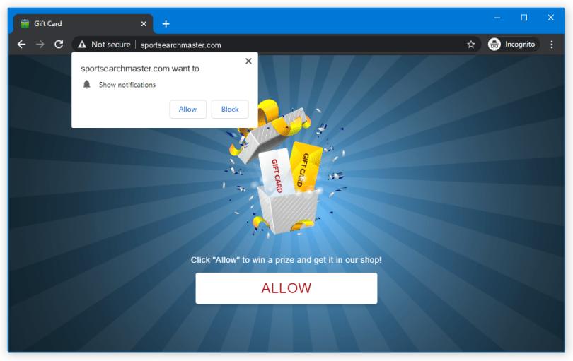 Sportsearchmaster.com push notification