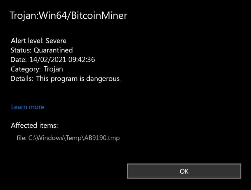 Trojan:Win64/BitcoinMiner found