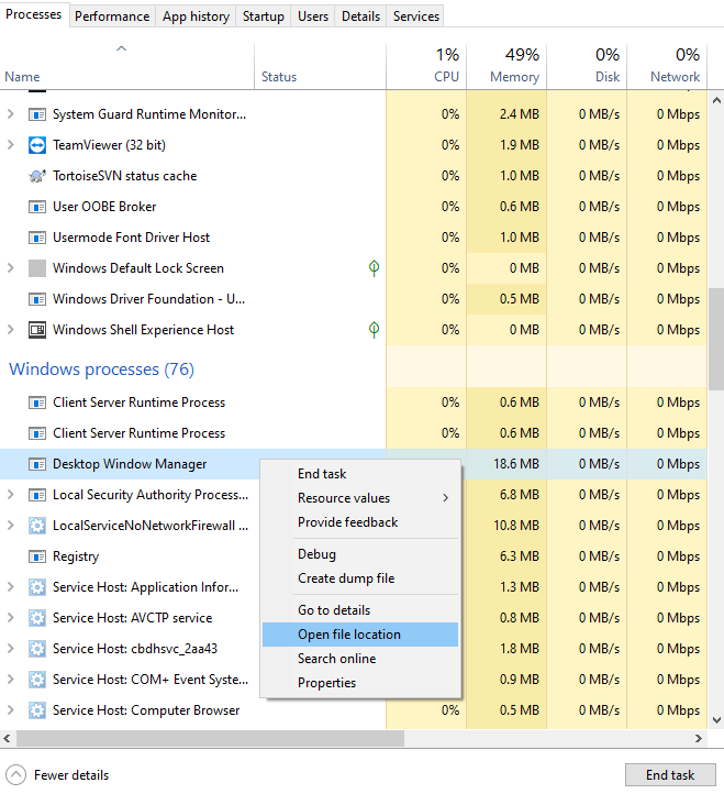 dwm.exe file location