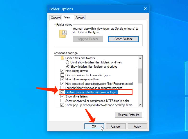 Restore previous folder windows at logon