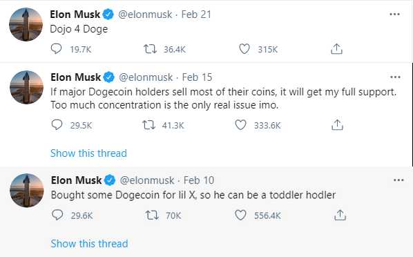 Musk's mentions of Dogecoin