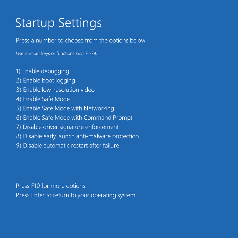 Startup settings in troubleshooting mode